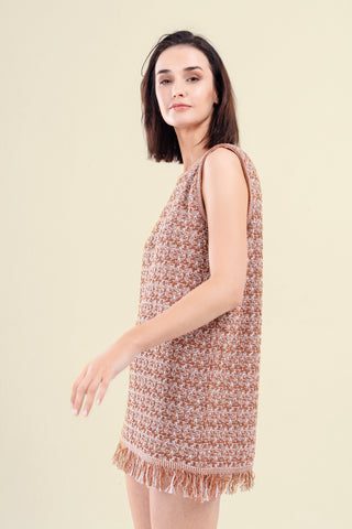 WHITE/OCRE KNITTED DRESS - VEREL
