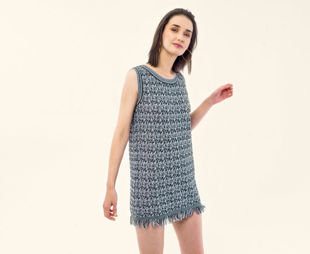 WHITE/BLACK KNITTED DRESS - VEREL