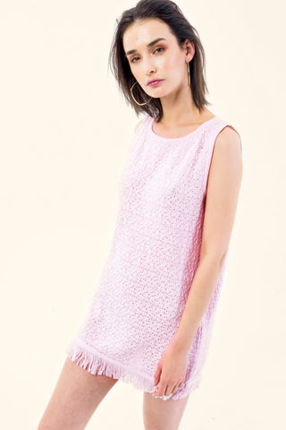 WHITE/ROSE KNITTED DRESS - VEREL