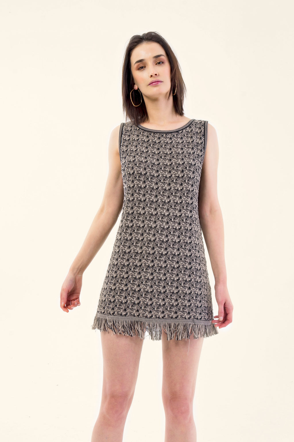 BLACK/BEIGE KNITTED DRESS - VEREL