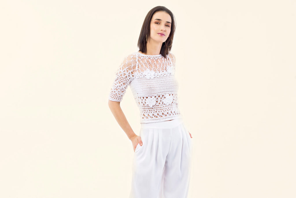 WHITE COTTON CROCHET TOP - VEREL
