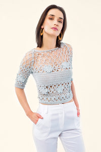 BLUE COTTON CROCHET TOP - VEREL