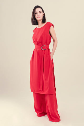 MAXI TOP AND PANTS SET IN RED CREPPE - VEREL