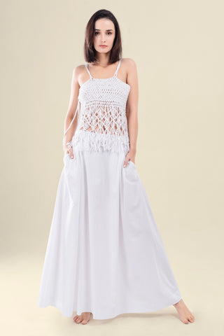 WHITE KNITTED MACRAME TOP - VEREL