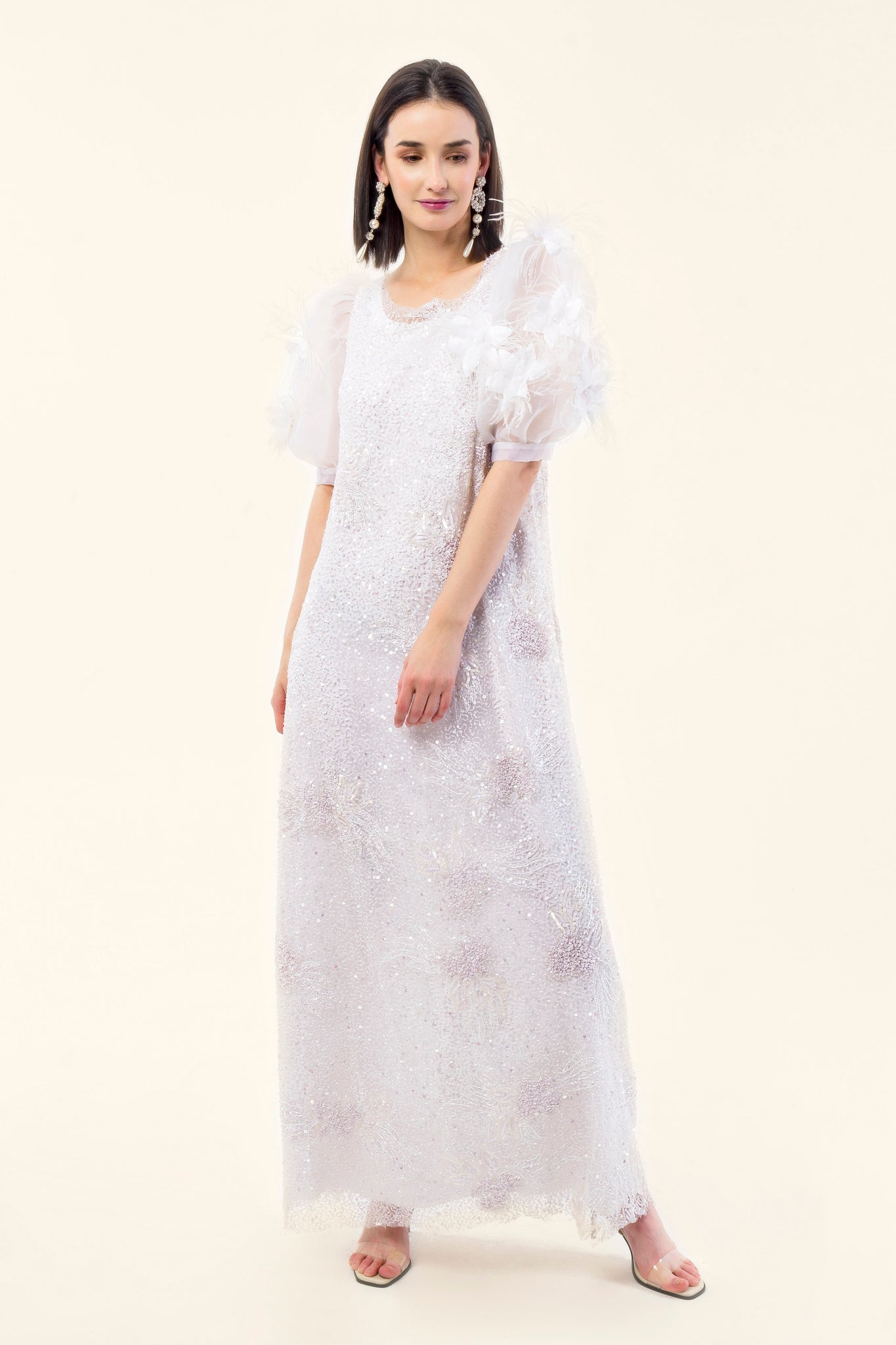 EMBROIDERY TULLE DRESS WITH ORGANZA AND FLOWERS. - VEREL