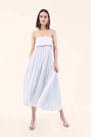 STRAPLESS PLEATED SATIN DRESS - VEREL