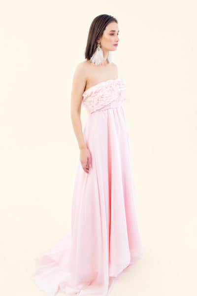 GALA STRAPLESS DRESS IN NATURAL SILK - VEREL