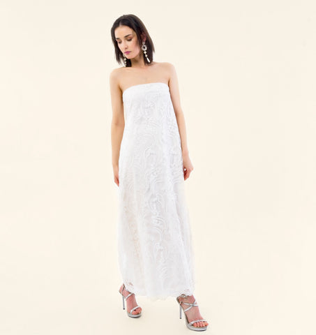 EMBROIDERED TULLE STRAPLESS DRESS - VEREL