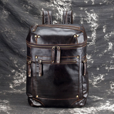 Men Oil Wax Herren Lederrucksack