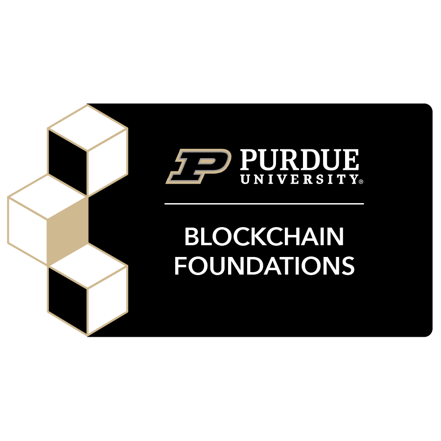 digital badge for Blockchain Foundations and Frameworks from Purdue University powered by EmergingEd