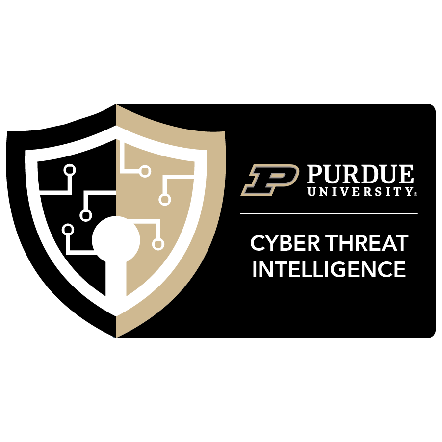 digital badge for Cyber Threat Intelligence from Purdue University powered by EmergingEd