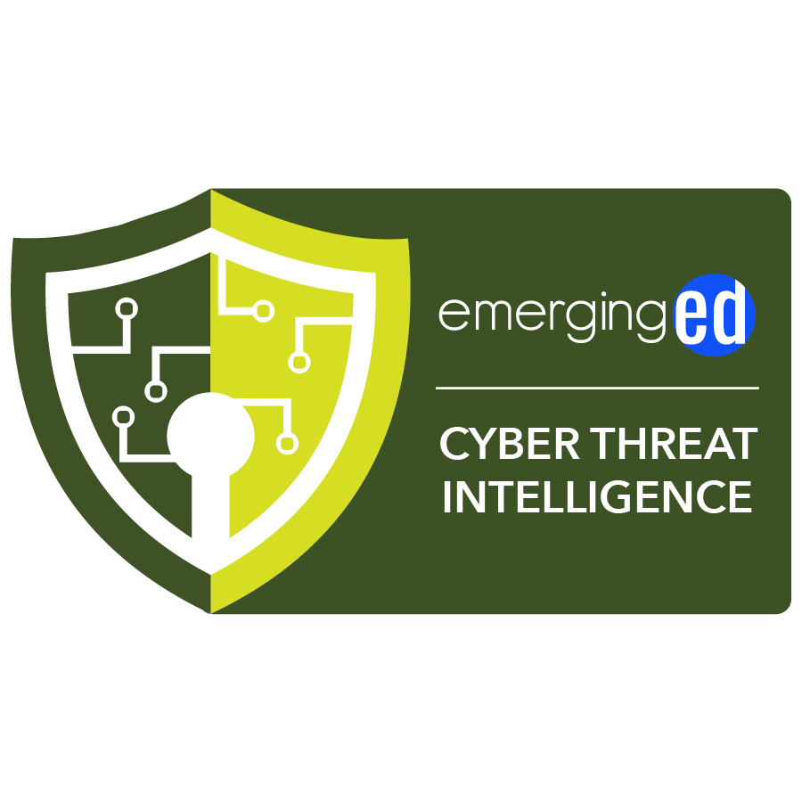 digital badge for Cyber Threat Intelligence from EmergingEd powered by EmergingEd