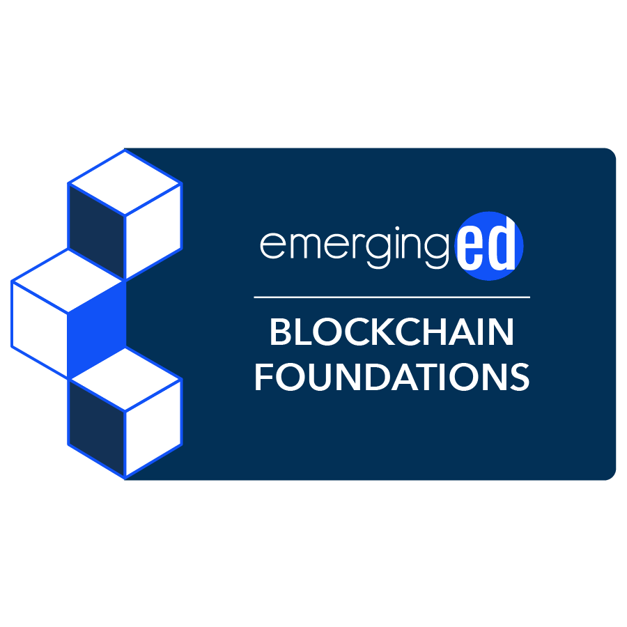 digital badge for Blockchain Foundations and Frameworks from EmergingEd powered by EmergingEd
