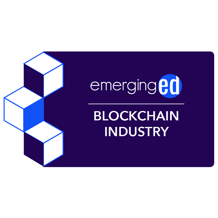 digital badge for Blockchain and Industry from EmergingEd powered by EmergingEd