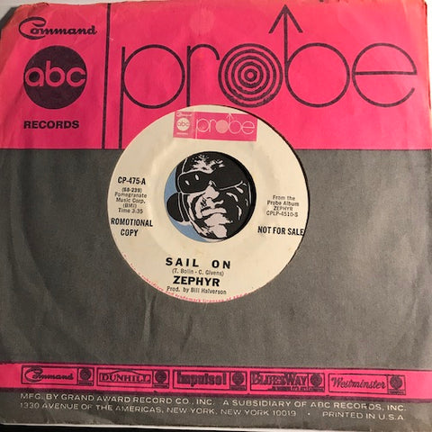 Zephyr - Sail On b/w Cross The River - ABC Probe #475 - Blues - Rock n Roll