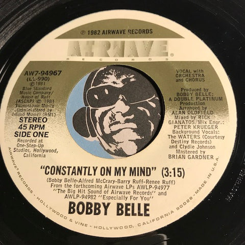 Bobby Belle - Constantly On My Mind b/w Theme From Fantasy Man - Airwave #94967 - Funk Disco