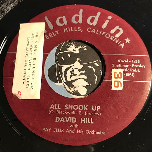 David Hill - All Shook Up b/w Melody For Lovers - Aladdin #3359 - Rockabilly