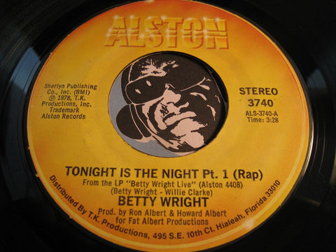 Betty Wright - Tonight Is The Night pt.1 (rap) b/w pt.2 (song) - Alston #3740 - Sweet Soul