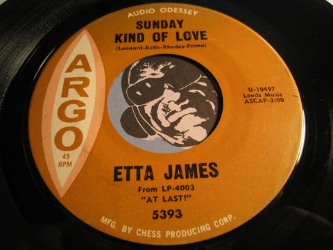 Etta James - Sunday Kind Of Love b/w Don't Cry Baby -