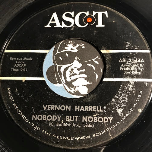 Vernon Harrell - Nobody But Nobody b/w Such A Lonely Guy - Ascot #2144 - R&B Soul
