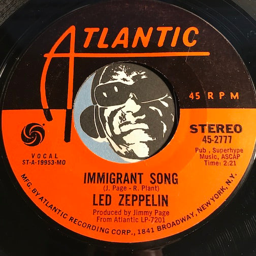 Led Zeppelin - Immigrant Song b/w Hey Hey What Can I Do - Atlantic #2777 - Rock n Roll