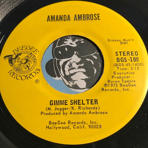 Amanda Ambrose - Gimme Shelter b/w Laughing - Beegee #109 - Modern Soul - Rock n Roll