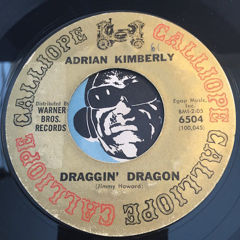Adrian Kimberly - Draggin Dragon b/w When You Wish Upon A Star - Calliope #6504 - Rock n Roll - Teen