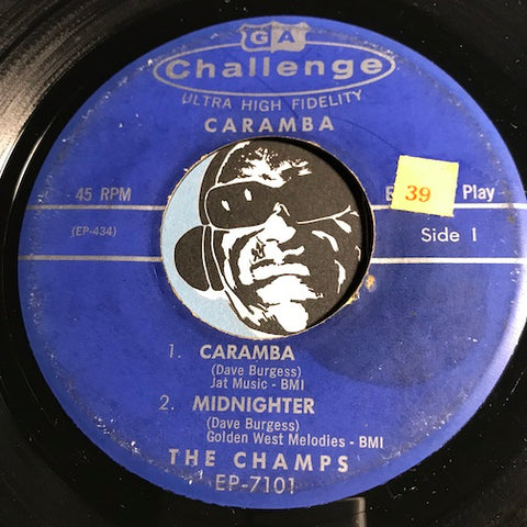 Champs - Caramba EP - Caramba - Midnighter b/w Beatnik - Just Walking In The Rain - Challenge #7101 - Rock n Roll