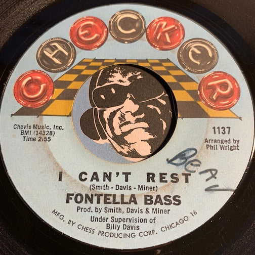Fontella Bass - I Can't Rest b/w I Surrender - Checker #1137 - R&B Soul