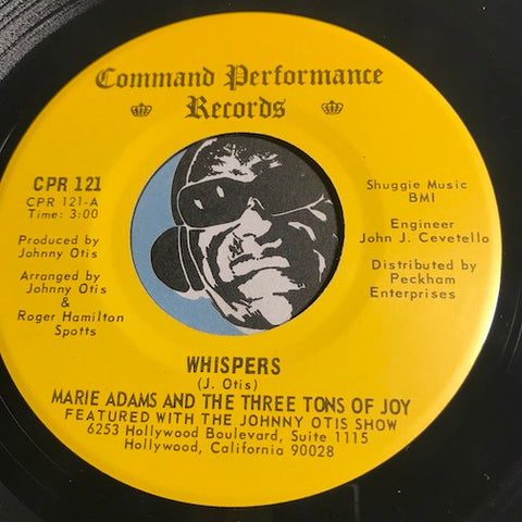 Marie Adams & Three Tons Of Joy - Whispers b/w Get On Up And Do It Baby (Try It You'll Like It) - Command Performance #121 - Modern Soul - Funk