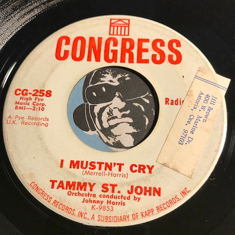 Tammy St. John - I Mustn't Cry b/w Dark Shadows and Empty Hallways - Congress #258 - Northern Soul