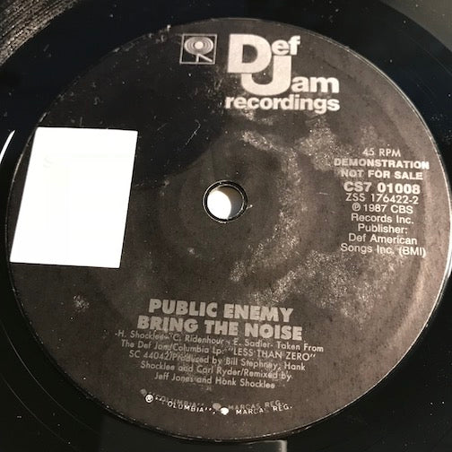 Public Enemy - Bring The Noise b/w same - Def Jam #01008 - Rap