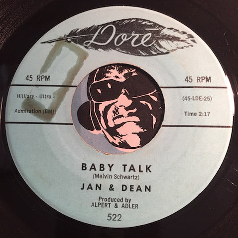 Jan & Dean - Baby Talk b/w Jeanette Get Your Hair Done - Dore #522 - Surf - Teen