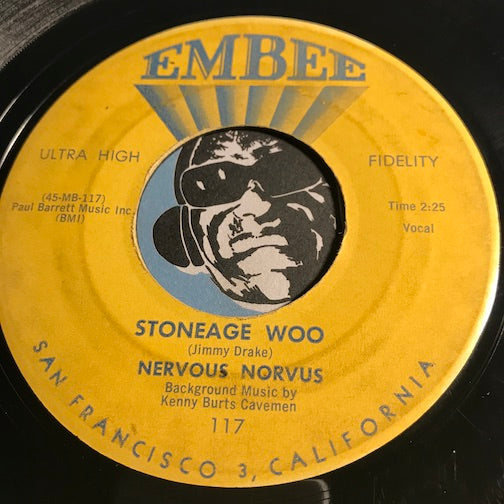 Nervous Norvus - Stoneage Woo b/w I Like Girls - Embee #117 - Novelty - Rock n Roll