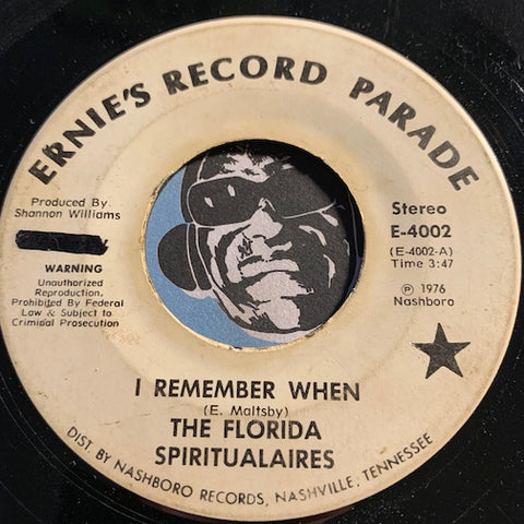 Florida Spiritualaires - I Remember When b/w Watching Mother Go Home Ernie's Record Parade #4002 - Gospel Soul - Sweet Soul