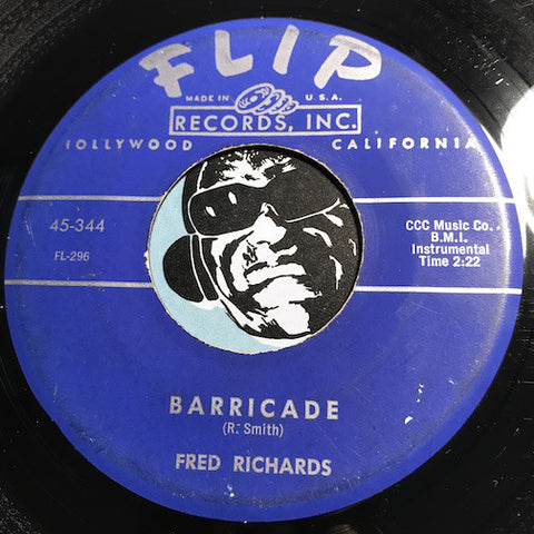 Fred Richards - Hullee Gullee b/w Barricade - Flip #344 Surf - R&B Instrumental