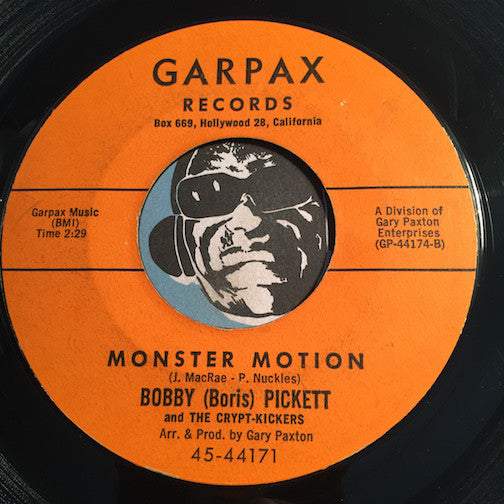 Bobby Pickett & Crypt-Kickers - Monster Motion b/w Monsters Holiday - Garpax #44171 - Rock n Roll