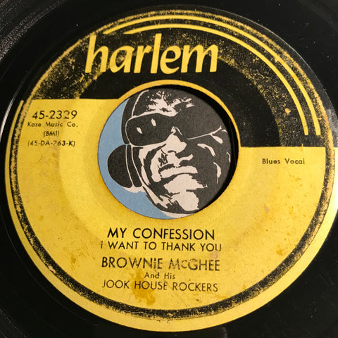 Brownie McGhee & Jook House Rockers - My Confession (I Want To Thank You) b/w Bluebird Bluebird - Harlem #2329 - Blues - R&B