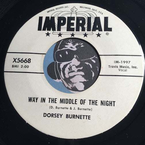 Dorsey Burnette - Way In The Middle Of The Night b/w Your Love - Imperial #5668 - Rockabilly