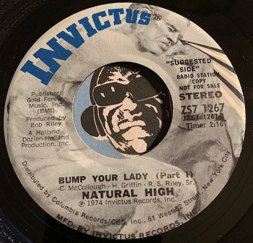 Natural High - Bump Your Lady pt.1 b/w pt.2 - Invictus #1267 - Funk