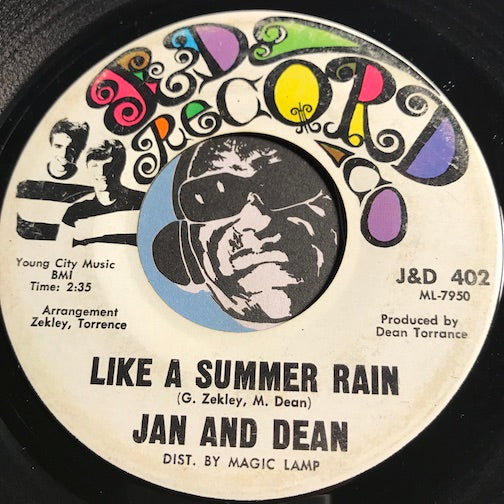Jan & Dean - Like A Summer Rain b/w Louisiana Man - J&D Record Co #402 - Surf