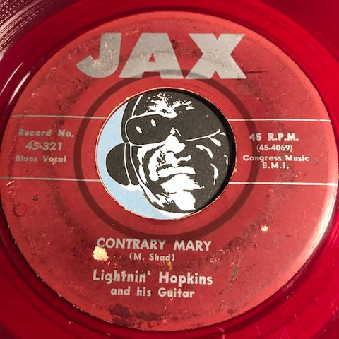 Lightnin Hopkins - Contrary Mary b/w I'm Begging You - Jax #321 - Blues - Colored vinyl