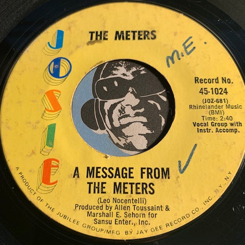 Meters - A Message From The Meters b/w Zony Mash - Josie #1024 - Funk