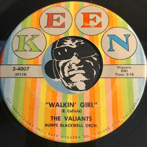 Valiants - Walkin Girl b/w Lover Lover - Keen #4007 - Doowop