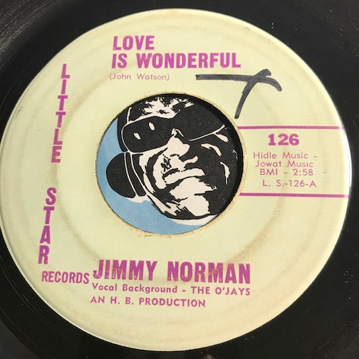 Jimmy Norman & O'Jays - Love Is Wonderful b/w What's The Word Do The Bird - Little Star #126 - Doowop - R&B Soul