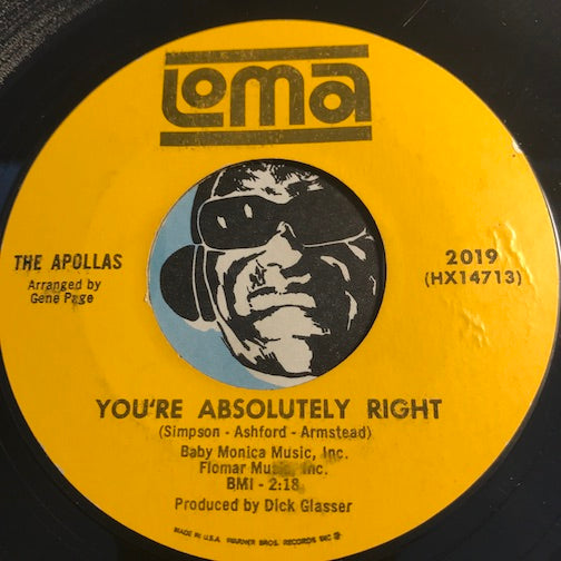 Apollas - You're Absolutely Right b/w Lock Me In Your Heart - Loma #2019 - Northern Soul