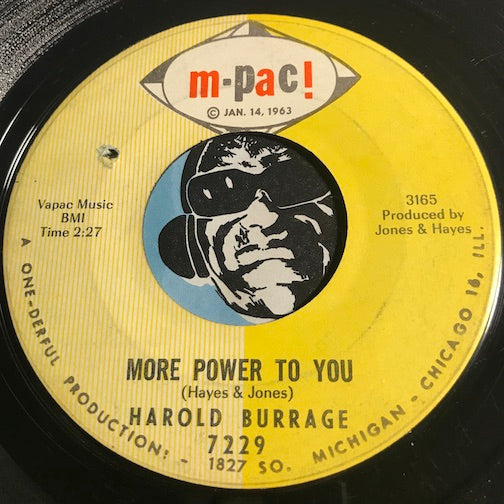 Harold Burrage - More Power To You b/w A Long Way Together - M-Pac #7229 - Northern Soul