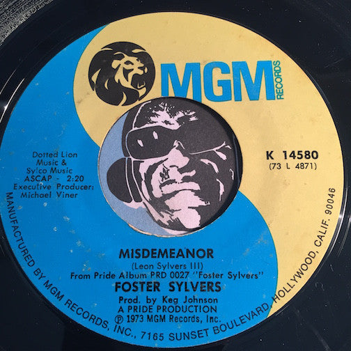 Foster Sylvers - Misdemeanor b/w So Close - MGM #14580 - Funk