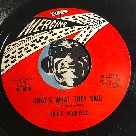 Billie Warfield - Crying All The Time b/w That's What They Said - Merging #2225 - R&B Soul