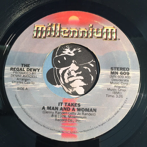 The Regal Dewy - It Takes A Man And A Woman b/w Marry Me Again - Millennium #609 - VG to VG+ / VG+ - Modern Soul